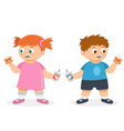 fat boy and girl are eating fast food at white vector image vector image
