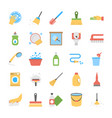 flat icon set of dishwashing and floor wipers vector image vector image