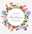 floral circle banner and garden flowers wreath vector image