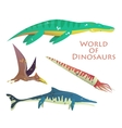 Flying and swimming dinosaurs or reptile vector image