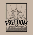 freedom concept t-shirt print and embroidery vector image