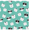 funny cats faces in sunglasses pattern seamless vector image vector image