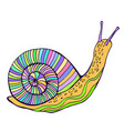 funny fantasy snail pastel color vintage style vector image vector image