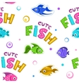 Funny seamless pattern with fishes vector image vector image