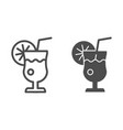 glass of lemonade line and glyph icon lemon juice vector image vector image