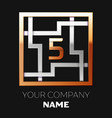 golden number five logo symbol in the square maze vector image vector image