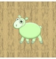 Green cartoon sheep on wood background vector image vector image