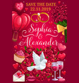groom and bride names wedding day save date vector image vector image