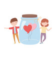 happy valentines day couple with jar glass with vector image