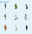 isometric human set of pedagogue policewoman vector image vector image