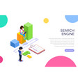 isometric search engineg concept people find vector image vector image