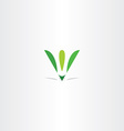 letter v green leaf eco logo v icon logotype vector image vector image
