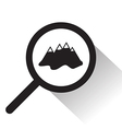 magnifying glass with mountain icon vector image vector image