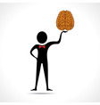 Man holding brain icon vector image vector image
