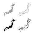 map of japon icon set grey black color vector image