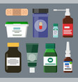 medicine bottles and box set vector image