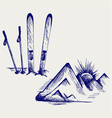 Mountains and ski equipments vector image vector image