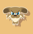 paper sticker on theme evil animal angry dog vector image vector image