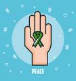 peace hand green ribbon celebration vector image