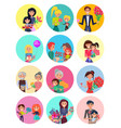 people with bouquets and gift boxes on holiday vector image vector image