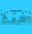 portugal sintra winter holidays skyline merry vector image vector image