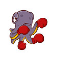 purple octopus with red boxing gloves on tentacles vector image