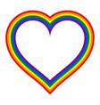 rainbow pride flag lgbt movement in heart shape vector image
