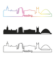 reading skyline linear style with rainbow vector image vector image