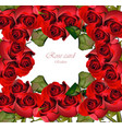 red roses card valentine day romantic vector image