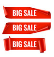Sale banner realistic red glossy paper ribbon