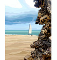 sandy sea coast with decorative stone and sail vector image