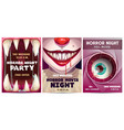 scary banners and posters set horror party vector image vector image