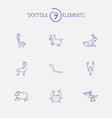 set of 9 editable animal doodles includes symbols vector image vector image