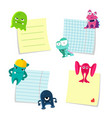 small notes with shadows set kept by cute vector image vector image