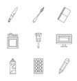 stationery icons set outline style vector image vector image