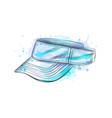 tennis cap visor cap from a splash watercolor vector image
