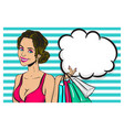 vintage pop art girl shopping wow face vector image vector image