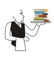 waiter serving books sales of books concept vector image