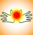 Warm magic ball in hands vector image vector image