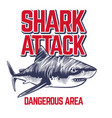 wild attacking shark scary jaws shark vintage vector image vector image