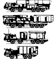 classification of trucks silhouettes vector image