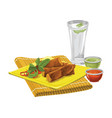 eggrolls with drink and sauce vector image