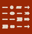 white wooden sign and arrow icon set vector image