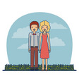 couple teacher profession of man with moustache vector image