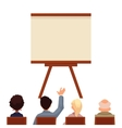 Presentation board in front of business people vector image