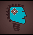 puzzle piece in bulb face vector image