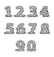 retro mono line decorative numbers set vector image
