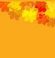 abstract autumn leaves on orange background vector image vector image
