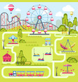 amusement park attractions flat plan vector image vector image