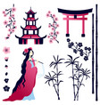 asian girl pagoda gate sakura flowers bamboo